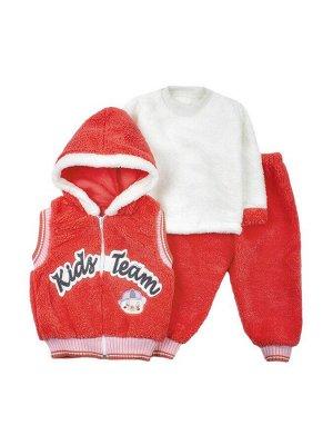 Комплект махровый детский: штанишки, кофточка и жилет на молнии с капюшоном
