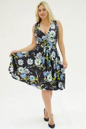 Платье П 706 (цветы на черном)
