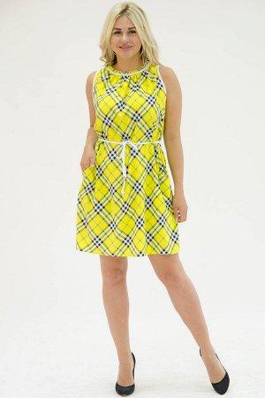 Платье П 700/3 (желтая+косая клетка)