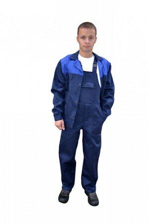 Костюм Костюм рабочий мужской состоит из куртки и полукомбинезона. Цвет : цвет - темно-синий с васильковой кокеткой и зеленый с желтой кокеткой.Ткань (материал)Смесовая (грета) Состав80% полиэстер, 20