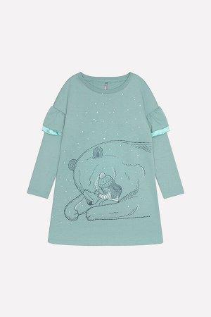 Платье для девочки Crockid КР 5555 серо-зеленый к219