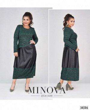 Платье №4091-1-тёмно-зеленый