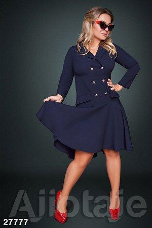Платье-пиджак темно-синего цвета с юбочкой солнце