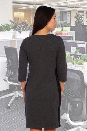 Платье Данный товар в одной расцветке ткань: футер 2-х нитка  состав: 72% хлопок, 23% п/э 5%лайкра Платье приталенного силуэта, рукав 3/4. Горловина декорирована функциональной молнией. Длина изделия