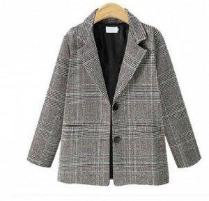 Шерстяной пиджак в клетку,серый