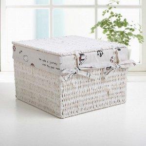 Корзина для хранения плетёная с крышкой Доляна «Море», 20?20?15 см, цвет белый