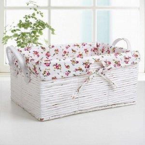 Корзина для хранения плетёная Доляна «Цветочки», 42?28?24 см, цвет белый