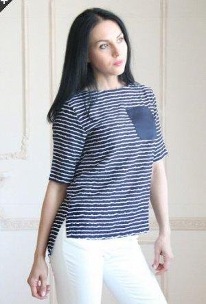 Блуза с коротким рукавом в полоску