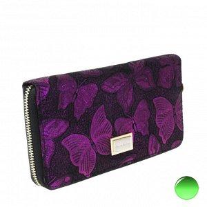 Стильный женский кошелек Pixies из натуральной кожи с лазерной обработкой малинового цвета.