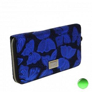 Стильный женский кошелек Pixies из натуральной кожи с лазерной обработкой цвета кобальт синий.