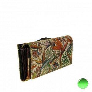 Полноразмерный женский кошелек Jungle из натуральной замши с тропическим принтом.