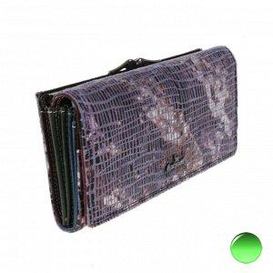 Полноразмерный женский кошелек Core из натуральной замши с лазерной обработкой пурпурно-дымчатого цвета.