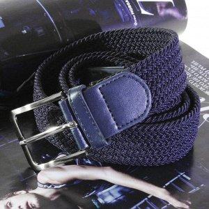 Текстильный плетеный ремень-резинка унисекс темно-синего цвета. Длина 105ъ см.