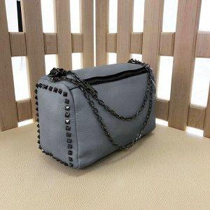 Стильная сумка Manner из натуральной мягкой мелкозернистой кожи цвета графит.