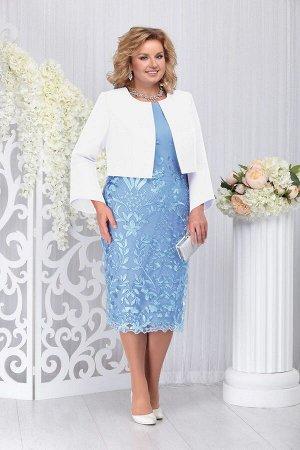 Жакет, платье Ninele Артикул: 5744 голубой+белый