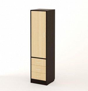 Пенал Габариты: 400x400 мм, h=1600 мм  Удобный закрытый пенал с тремя выдвижными ящиками. Модель отличается простотой и функциональностью. За закрытой дверцей расположены полки, что делает пенал очень