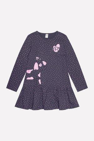 Платье для девочки Crockid К 5463 темно-серый, горошки к1236