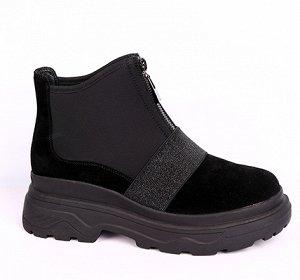 0Z0290-03-1А черный (Нат.кожа/Байка) Ботинки женские 10п