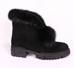 0Z0021-01-1А черный (Текстиль/Иск.мех) Ботинки женские