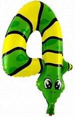 "R3124, E104 Шар-цифра, фольга,   Зверюшки ""Цифра 4. Змея"",  41 см (Falali), с клапаном"