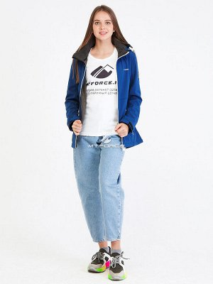 Женская осенняя весенняя ветровка softshell синего цвета