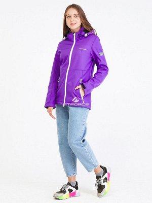 Женская осенняя весенняя ветровка softshell фиолетового цвета