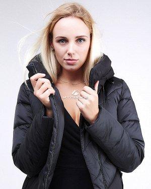 Женская зимняя классика куртка с капюшоном черного цвета 9102_01Ch