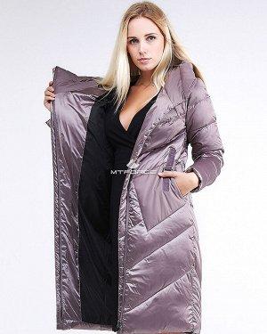 Женская зимняя классика куртка с капюшоном бежевого цвета 9102_12B