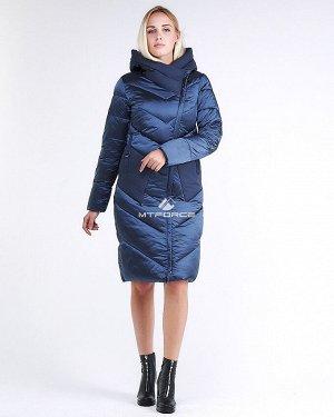 Женская зимняя классика куртка с капюшоном темно-синего цвета 9102_22TS