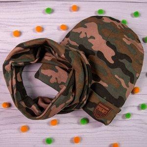 Комплект шапка с отворотом + снуд, двойной трикотаж, милитари, хаки