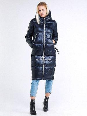 Женская зимняя классика куртка с капюшоном темно-синего цвета