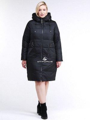 Женская зимняя классика куртка большого размера черного цвета 98-920_701Ch
