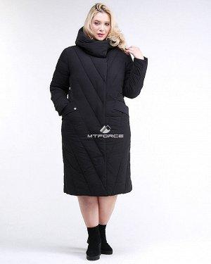 Женская зимняя классика куртка с капюшоном черного цвета
