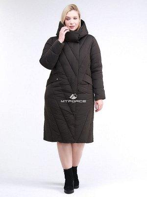 Женская зимняя классика куртка с капюшоном коричневого цвета