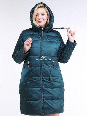 Женская зимняя классика куртка большого размера темно-зеленного цвета