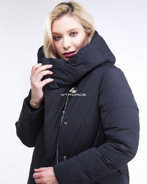 Женская зимняя классика куртка с капюшоном темно-серого цвета