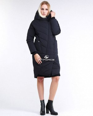 Женская зимняя молодежная куртка стеганная темно-синего цвета 9105_11TS