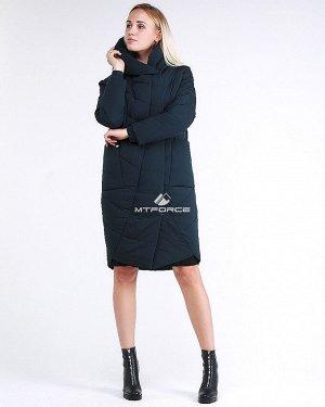 Женская зимняя молодежная куртка стеганная темно-зеленного цвета