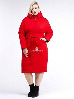 Женская зимняя классика куртка большого размера красного цвета 110-905_4Kr