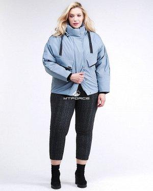Женская зимняя классика куртка большого размера серого цвета 74-903_2Sr