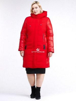 Женская зимняя классика куртка большого размера красного цвета 100-921_7Kr