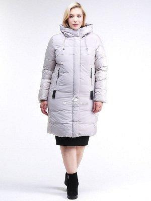 Женская зимняя классика куртка большого размера серого цвета 100-921_46Sr