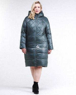 Женская зимняя классика куртка стеганная темно-зеленного цвета