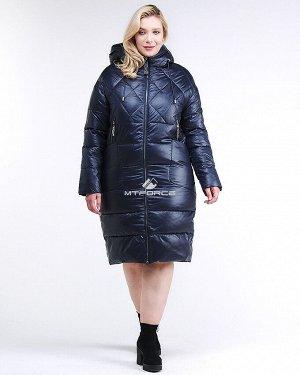 Женская зимняя классика куртка стеганная темно-синего цвета
