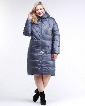Женская зимняя классика куртка стеганная темно-серого цвета 105-918_25TC