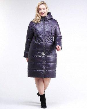 Женская зимняя классика куртка стеганная темно-фиолетового цвета