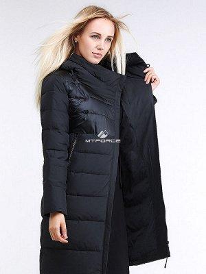 Женская зимняя молодежная куртка стеганная черного цвета