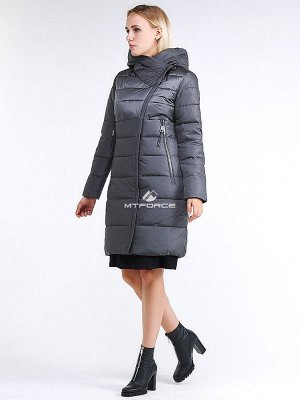 Женская зимняя молодежная куртка стеганная серого цвета