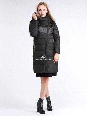 Женская зимняя молодежная куртка стеганная темно-серого цвета