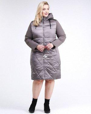 Женская зимняя классика куртка большого размера коричневого цвета 100-916_48K